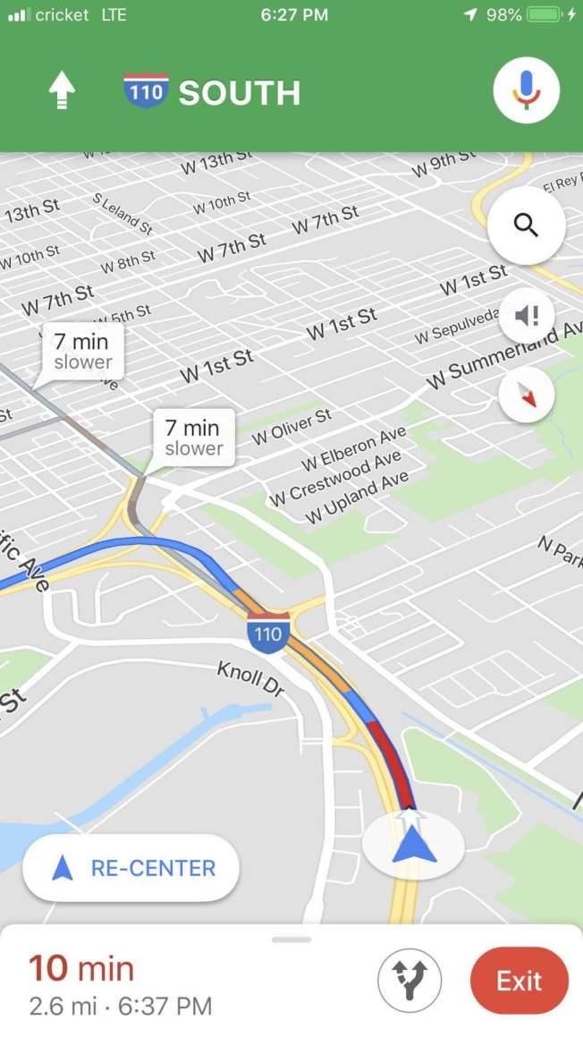 谷歌地圖顯示公路關停路段已為深紅色。(讀者提供)