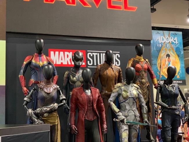 漫威在聖地牙哥動漫展展出女超級英雄服飾。(記者馬雲/攝影)