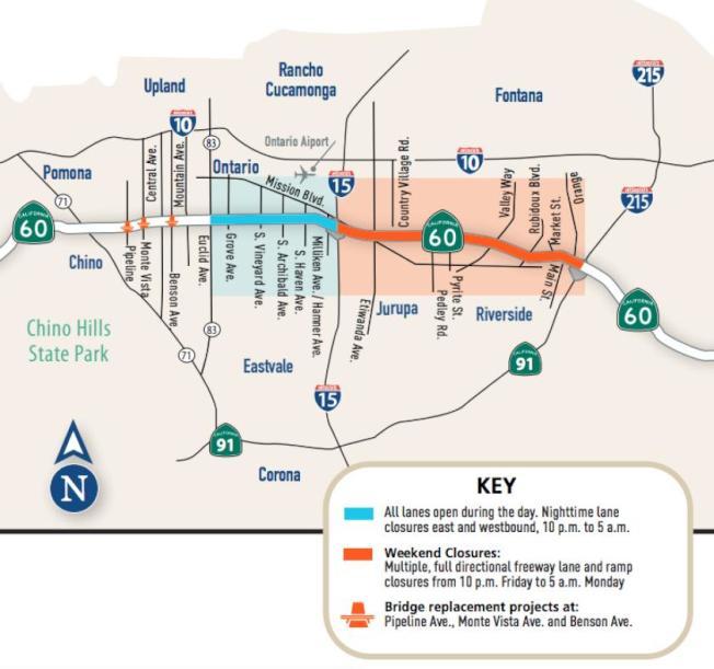 內陸帝國60號公路整修示意圖,箭頭處是高架橋工程,藍色路段每天晚上雙向封路七小時,橘色路段周末單向封路55小時。(加州交通處提供)