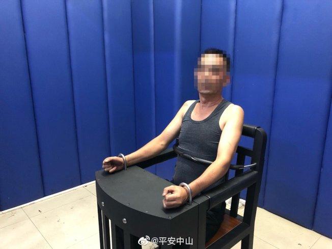 中山警方表示,刺傷任達華的嫌疑人陳姓男子存在精神障礙(俗稱妄想症)。圖為陳姓男子。(中通社)
