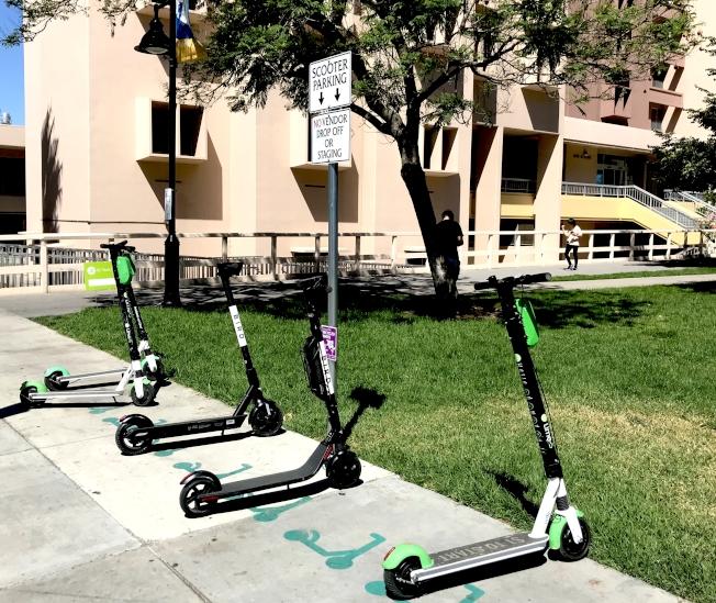 聖荷西州大滑板車下車區。(記者梁雨辰/攝影)