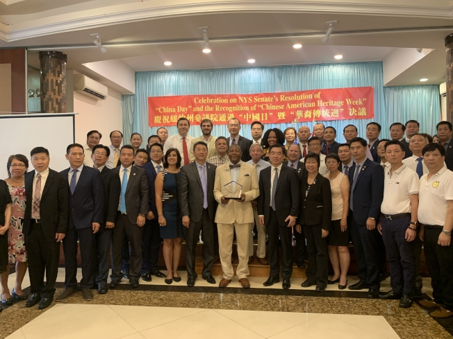 美國亞裔聯合總會等多個團體20日於布碌崙慶祝州參議會通過「中國日」提案。(記者顏潔恩/攝影)