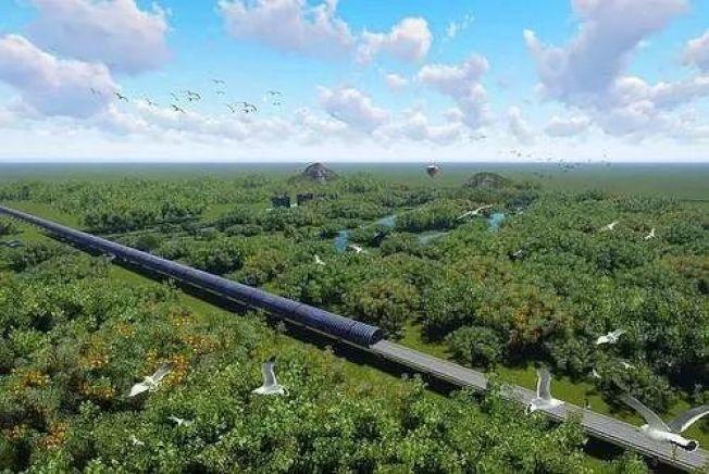 江湛鐵路新會段經過小鳥群聚處,興建隔音隧道保護3萬隻小鳥。(取材自中國鐵路))
