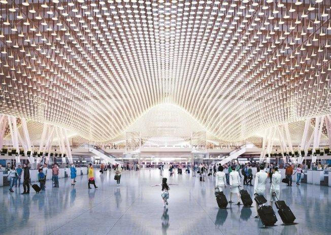 桃機第三航廈出境大廳亮點「雲頂天花板」,造價高昂、維護麻煩,桃機研擬更改設計。 圖/桃機提供