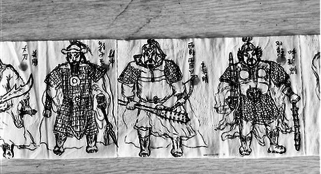 韓旭在衛生紙上畫的水滸108將。(取材自北京青年報)