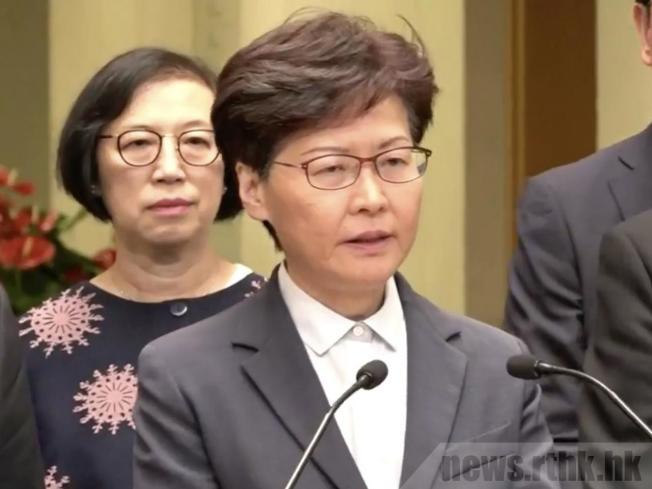 林鄭月娥強烈譴責暴力行為。圖/取自香港電台