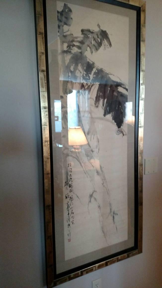 蔣經國送給林德少將的嶺南歐豪年大師水墨國畫。(王振威提供)