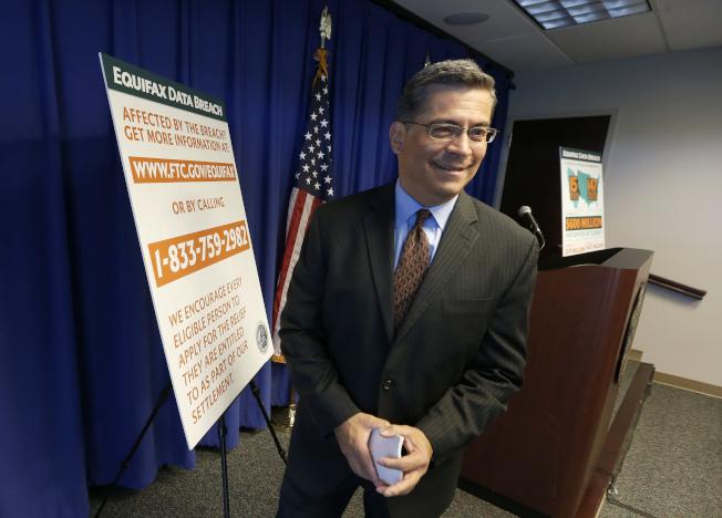 加州檢察長貝塞拉22在加州記者會上宣布,Equifax與聯邦及46個州就顧客個資被駭,達成4億多元的和解。(美聯社)