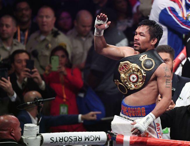 帕奎奧成為拳壇有史以來最年長的次中量級冠軍。(Getty Images)