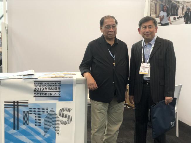 黃偉基(左)與孫良輔表示,很多知名運動品牌都選擇從台灣進口機能布料。(記者張晨/攝影)