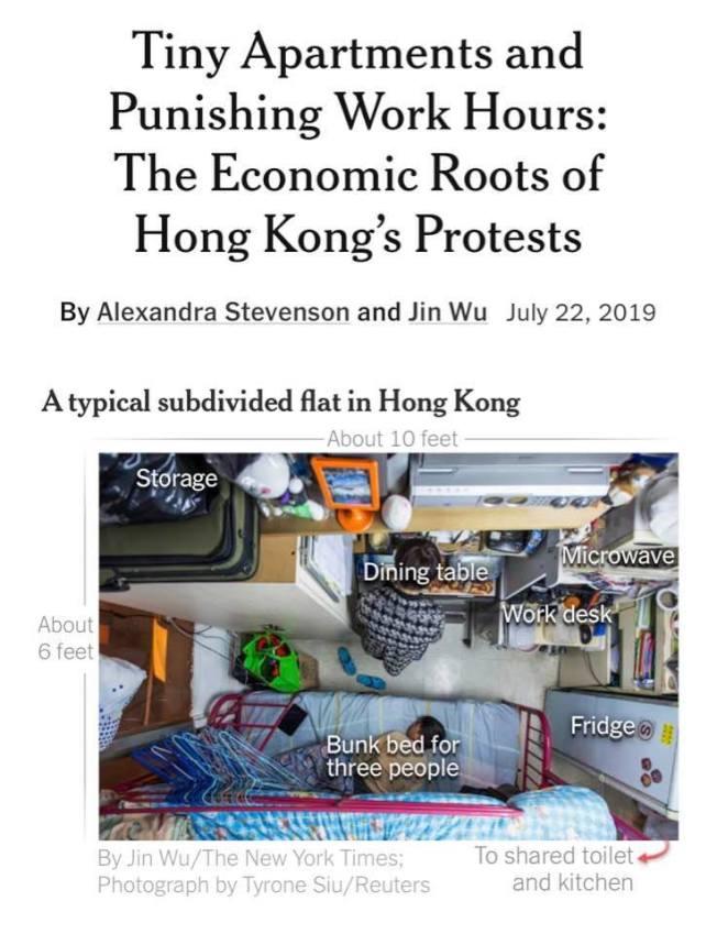 紐約時報報導,在引爆大型示威運動的政治憤怒情緒之下,香港人對他們自身經濟前途有深層焦慮。如圖約3公尺長、1.83公尺寬的房間裡,可能要擠上一家三口。翻攝紐時