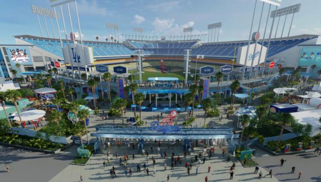 道奇棒球場中外野後面將建廣場,成為新「前門」。(洛杉磯道奇隊提供)