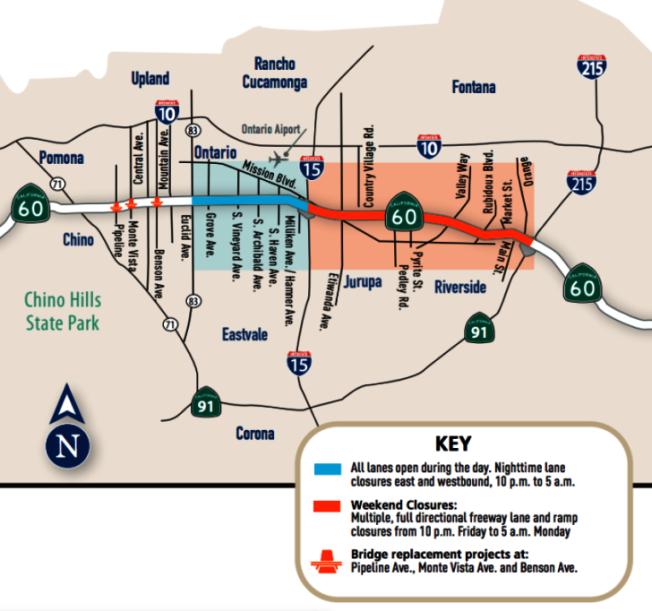 從本周起,60號公路路面整修工程八個周末封路圖。(加州公路局提供)