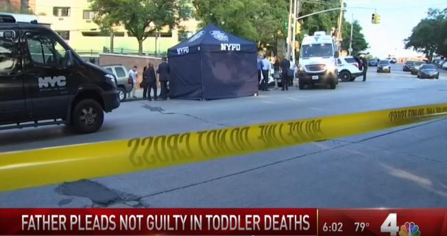 紐約市警方把這輛本田雅哥轎車罩住進行調查。(WNBC電視台截頻)