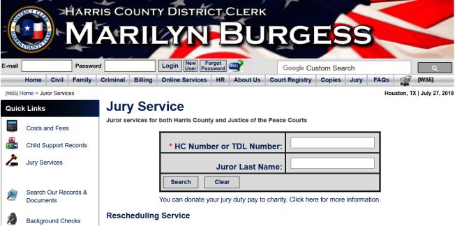 擔任陪審團員是美國公民應盡義務,但真的有事情或是能力不足以擔任陪審團員,在申請免除該項義務後,可以上網查詢確認自己是否已經被豁免。(圖為哈瑞斯縣法院網站)