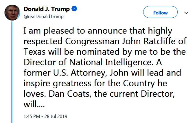 川普總統推文宣布由德州國會眾議員賴特克里夫出任國家情報總監 。(Getty Images)