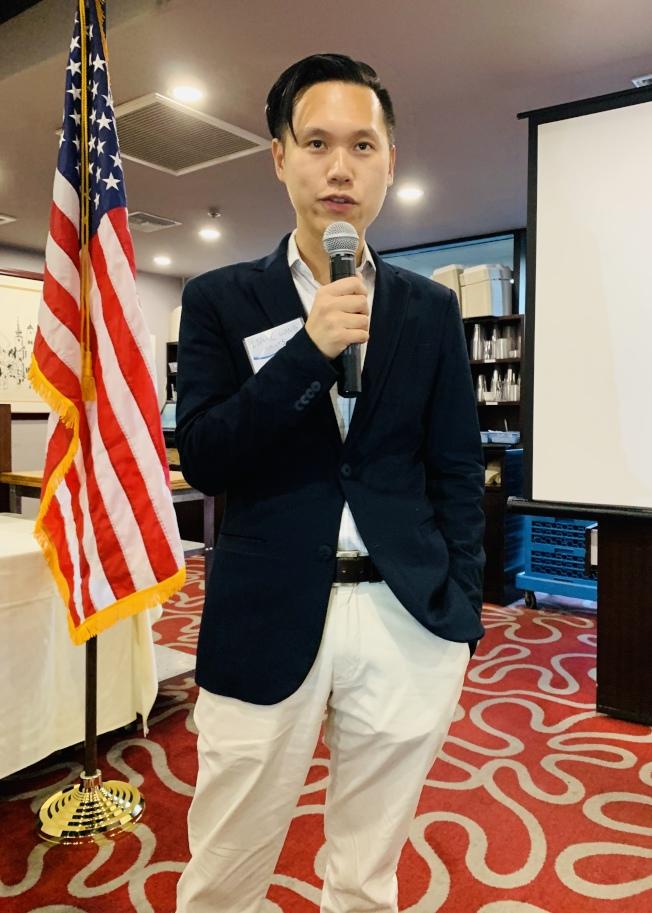 聖地牙哥第五區市議員候選人王儀聖為華裔第二代,父母來自中國,曾為海軍軍官,目前從事城市規畫相關數位科技產業。(記者陳良玨/攝影)