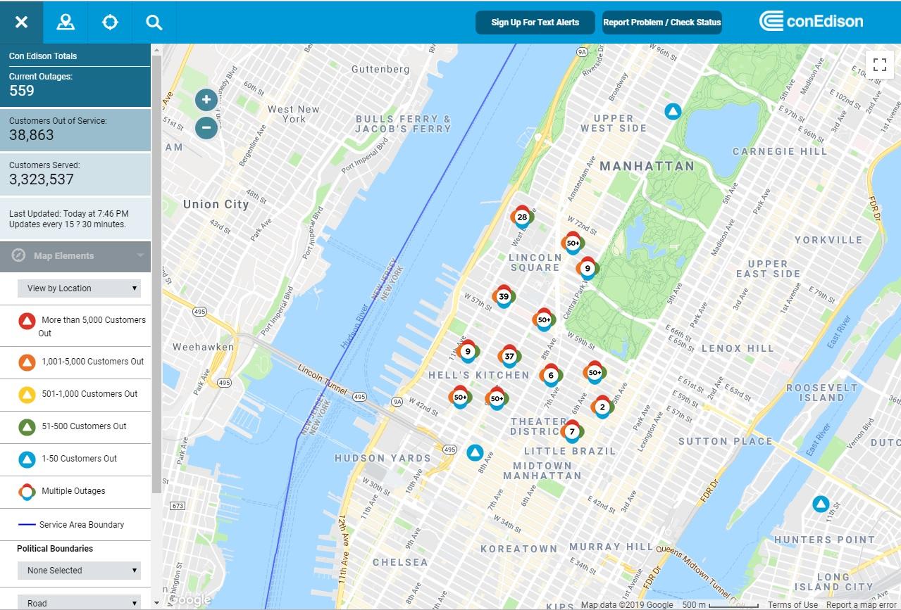 聯合愛迪生公司網站的斷電區域圖。(ConEdison)