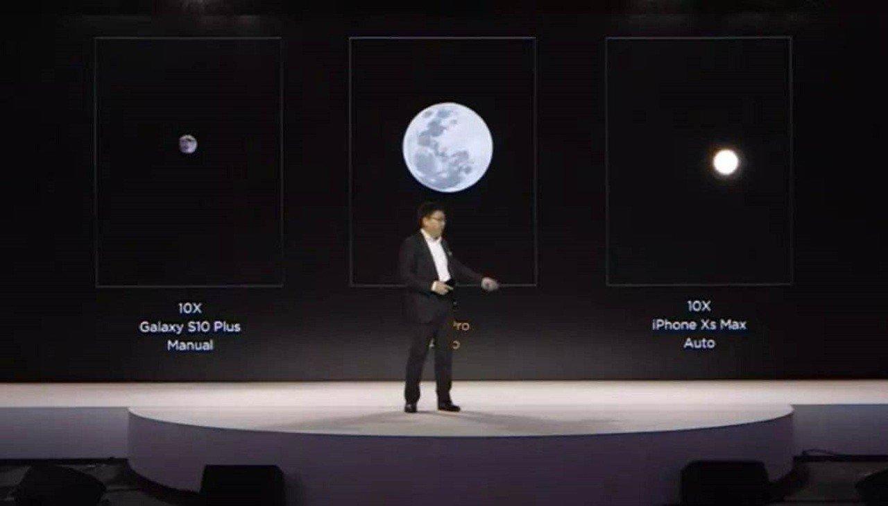 華為消費者業務CEO余承東4月介紹P30 Pro拍攝月亮技術。圖/華為官網微博