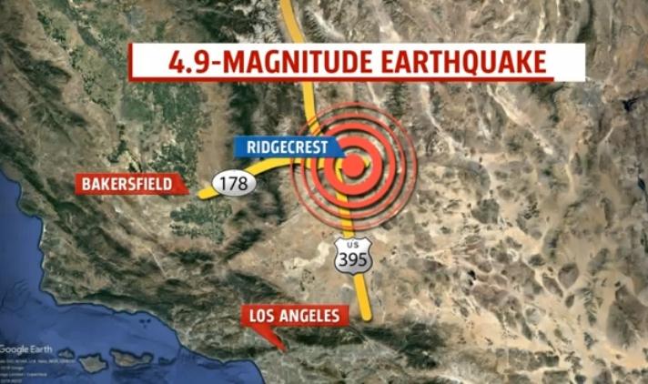 南加12日上午再度發生規模4.9地震。(截自影片)