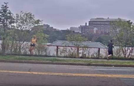 一名男子涉暴露下體公然猥褻,但遇上一名退役女兵,被制伏並送警。(截自影片)
