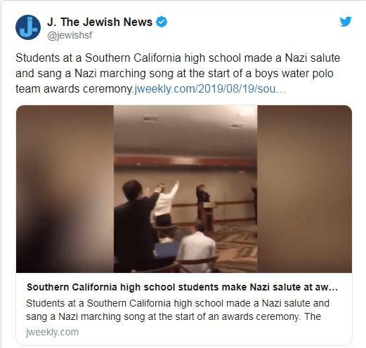 橙縣園林市太平洋高中男子水球隊成員在社交平台發布的視頻近日曝光,內容驚現水球隊成員致敬納粹並歌頌納粹。(取自推特)