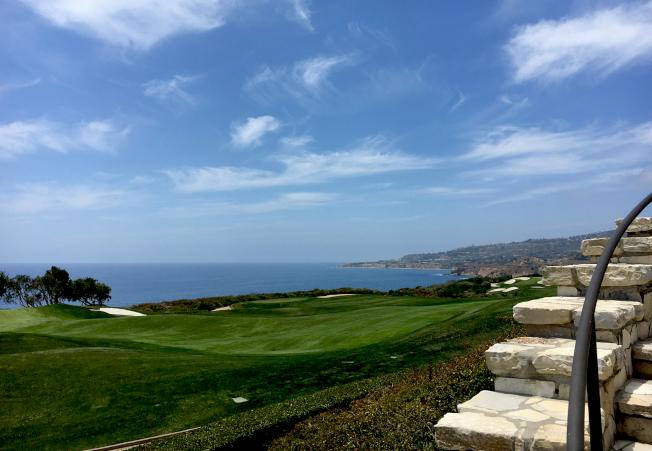 高爾夫球場綠草如茵,依山面海。