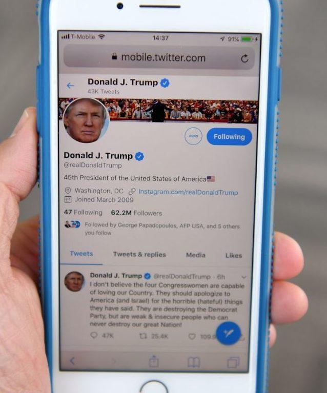 川普總統常用推特,名人效應讓推特業務水漲船高。(Getty Images)