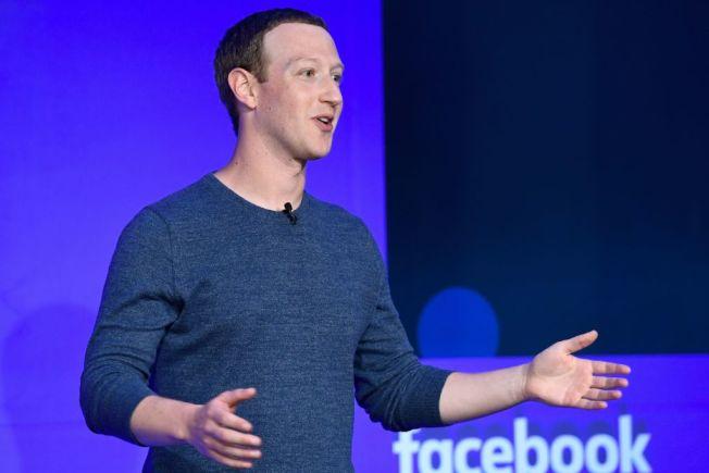 臉書執行長查克柏格去年在巴黎出席一項記者會。(Getty Images)