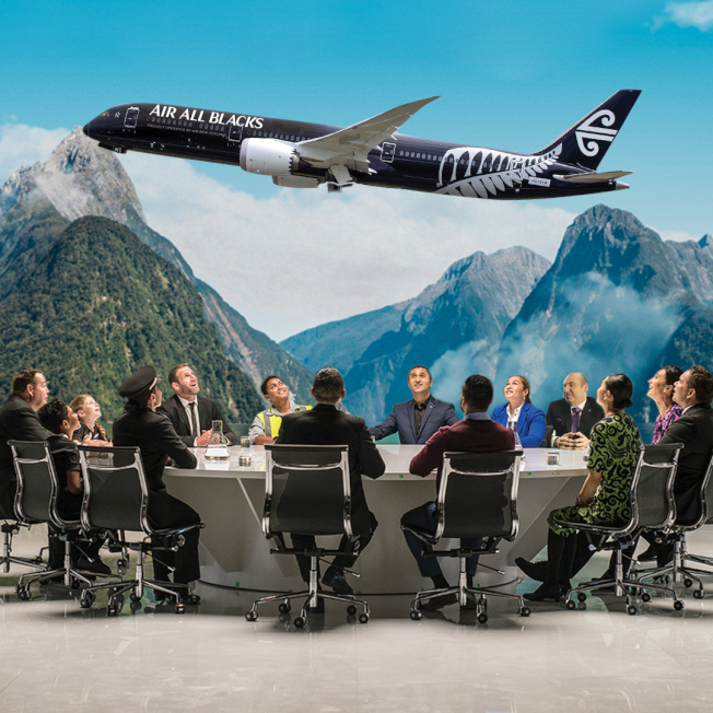 紐西蘭航空飛行安全宣傳創意短片十周年最新鉅獻!幽默宣布將更名為「全黑航空Air All Blacks」。 圖/紐西蘭航空提供