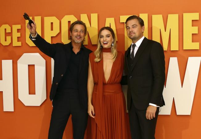 「從前,有個好萊塢」男女主角出席倫敦首映。(美聯社)