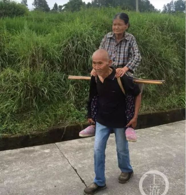 老爺爺背老奶奶的照片令網友感動。(取材自上游新聞)
