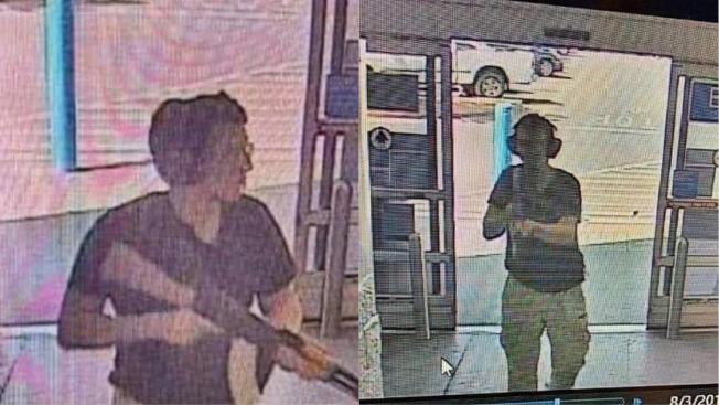 德州艾爾巴索一座購物中心3日發生槍擊事件,至少19死40傷。圖為KTSM 9新聞台報導,一名 嫌犯持槍進入商場。(歐新社)