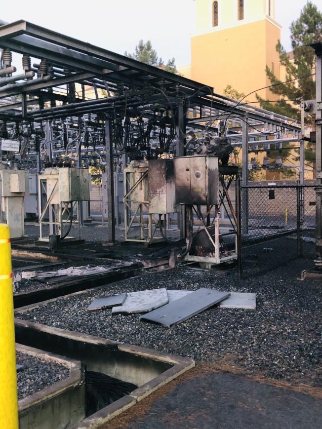 爾灣愛迪生電站突發起火。(橙縣消防局提供)