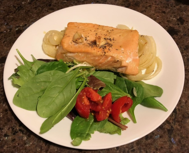 白葡萄酒烤鮭魚