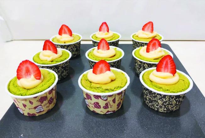 抹茶檸檬卡士達杯子蛋糕。(圖:陳今珍提供)