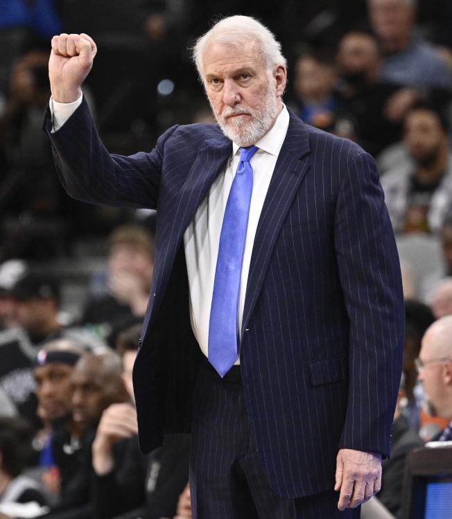 NBA馬刺總教練波波維奇(Gregg Popovich)。(美聯社)