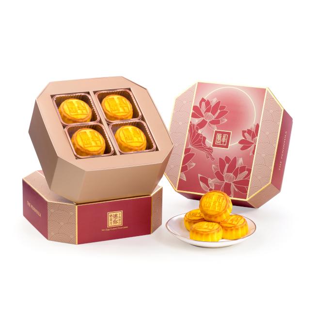 香港半島酒店特製的奶黃月餅,今年首次在比佛利山半島酒店發售。(半島酒店提供)