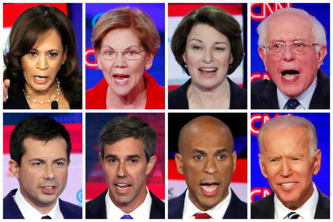 民調領先的八位民主黨總統提名參選人。左上起:賀錦麗、華倫、柯洛布查、桑德斯;左下起:布塔朱吉、歐洛克、布克及白登。(路透)