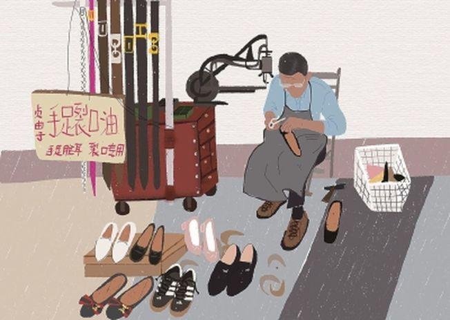 修鞋攤曾是上海弄堂口的標配 。(取材自新聞晨報)