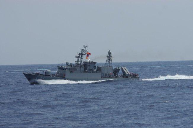 今年五月漢光35號演習,參演的台灣軍隊錦江級巡邏艦「湘江」號。記者程嘉文/攝影