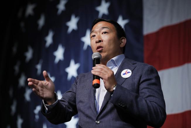 華裔參選楊安澤的知名度越來越高,已打進民主黨9月政見辯論的大賽。(美聯社)
