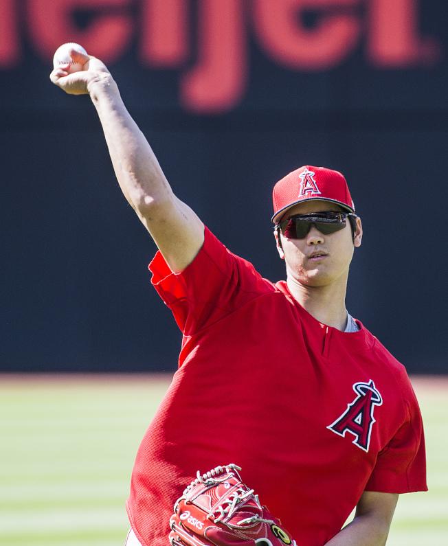 大谷翔平右手肘的復健進度良好,天使隊相當滿意。(美聯社)