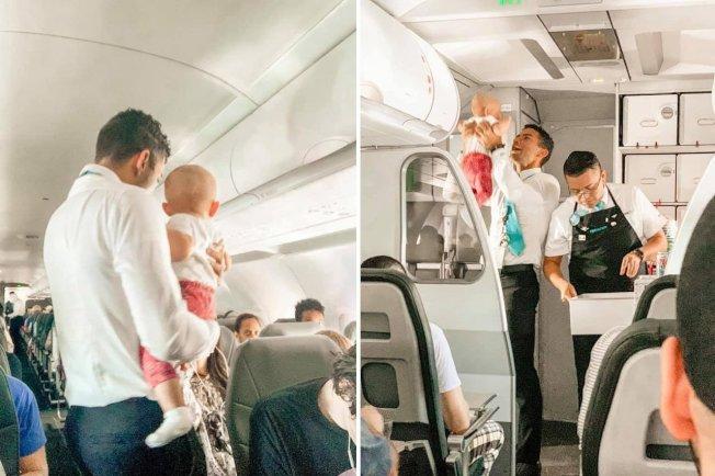空服員卡斯楚幫忙安撫小孩,暖心舉動被網友大讚。圖擷自Jamie Applegate Hunter 臉書