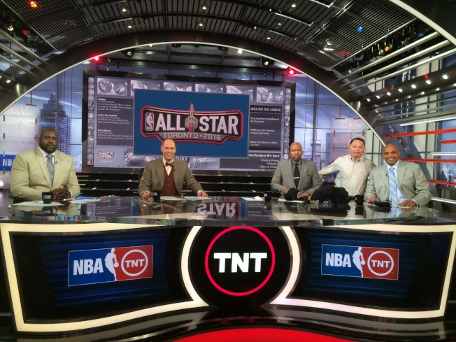 Shirley's father and his friend, Charles Barkley (right), on the set of Inside the NBA. (Courtesy of Shirley Wang)