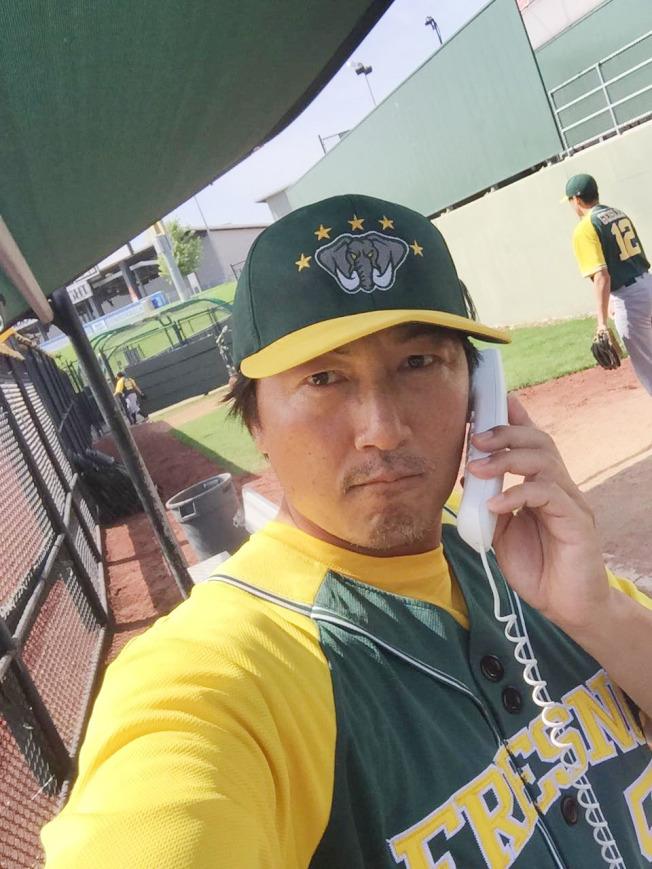 戴于程在加州Fresno Athletics Baseball俱樂部執教。(戴于程提供)