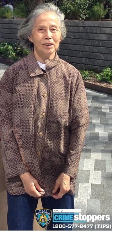 曼哈頓哈德遜園區(Hudson Yards)11日發生一起華裔耆老走失案件,市警12日呼籲民眾協尋。  警方表示,11日晚6時50分左右,家住新澤西的78歲華裔耆老孫淑仙(Shuxian Sun,音譯),與兒子一家到位於曼哈頓西33街500號的新建地標哈德遜園區遊玩,家人拍照過後再回頭尋找老人時已不見其蹤影,於是報警。  警方稱,失蹤耆老不會講英文,身高約5呎1吋,體重115磅,花白短髮,失蹤前穿棕色外套、藍色牛仔褲和黑色運動鞋;呼籲民眾若看到與照片特徵相似者,可立即撥打止罪熱線(800)577-TIPS(8477),也可登錄止罪網站www.nypdcrimestoppers.com,或透過手機發消息至274637(CRIMES),然後輸入TIP577,消息來源絕對保密。  (圖:警方提供,文:記者張晨)