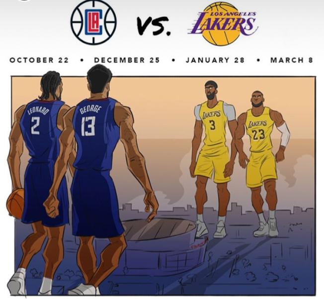 洛杉磯兩支隊伍快艇與湖人將分別在NBA開場賽、耶誕節對打。(Clippers Instagram)