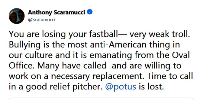 史卡拉穆奇回批稱共和黨選總統「要找救援投手」,目前在位的無法連任。(取自推特)