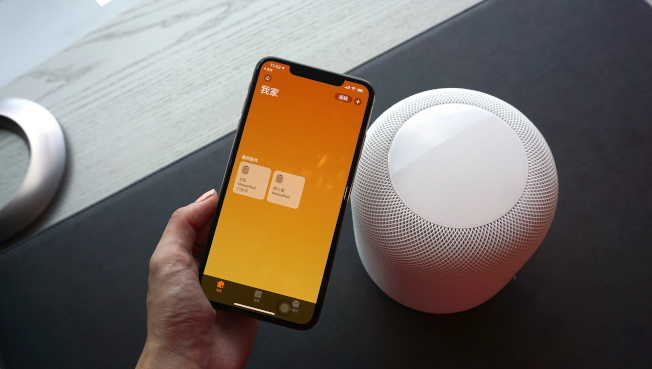 若擁有兩顆以上的HomePod,可配對成為立體聲喇叭組。(記者黃筱晴/攝影)